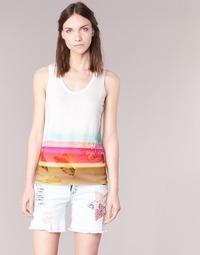 textil Mujer camisetas sin mangas Desigual TEDERI Blanco / Multicolor