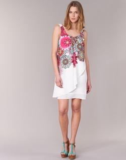 textil Mujer vestidos cortos Desigual LIORASA Blanco / Rojo / Rosa