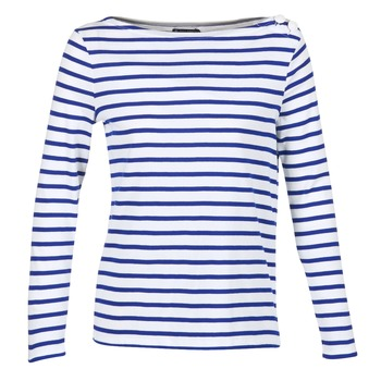 textil Mujer Camisetas manga larga Petit Bateau FIX Blanco / Azul