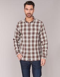 textil Hombre camisas manga larga Dickies HARRELL Blanco / Marrón