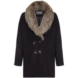 textil Mujer plumas Anastasia Abrigo de invierno para mujer cuello de piel Black
