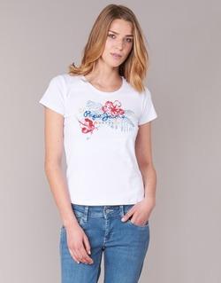 textil Mujer camisetas manga corta Pepe jeans AMBER Blanco