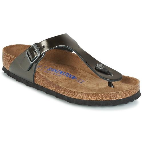 Zapatos Mujer Chanclas Birkenstock GIZEH SFB Gris / Metalizado