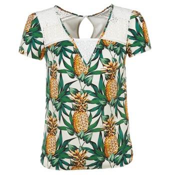 textil Mujer Tops / Blusas Naf Naf E-ANANAS Blanco / Verde / Amarillo