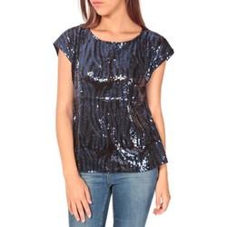 textil Mujer Camisetas manga corta Tcqb Top 23171 paillettes Julie GG Noir/Bleu Negro