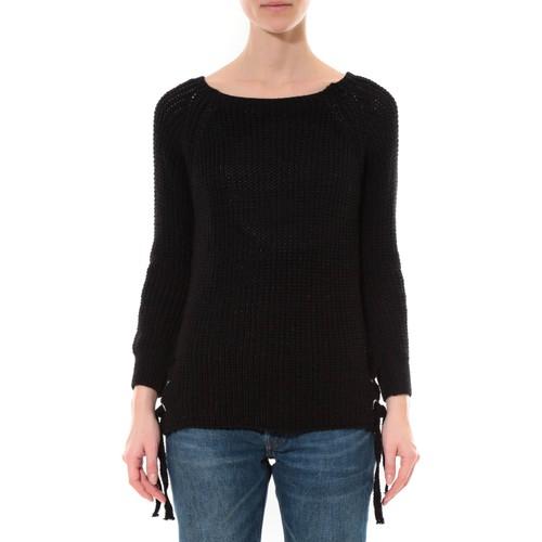 textil Mujer Jerséis De Fil En Aiguille Pull Lacets Noir Negro