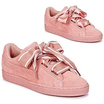 Zapatos Mujer Zapatillas bajas Puma Basket Heart Satin Rosa