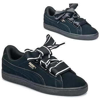 Zapatos Mujer Zapatillas bajas Puma Basket Heart Satin Negro