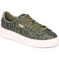 Zapatos Mujer Zapatillas bajas Puma Basket Platform Bi Color Kaki