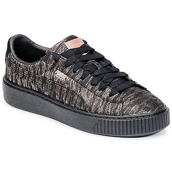 Zapatos Mujer Zapatillas bajas Puma Basket Platform Bi Color Negro / Rosa