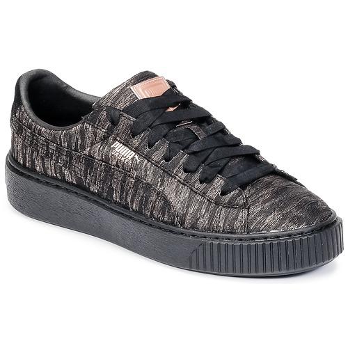 36c6af9ceeb6 Zapatos Mujer Zapatillas bajas Puma Basket Platform Bi Color Negro / Rosa
