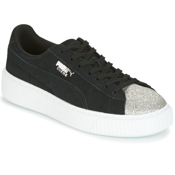 Zapatos Mujer Zapatillas bajas Puma SUEDE PLATFORM GLAM JR Negro / Plateado