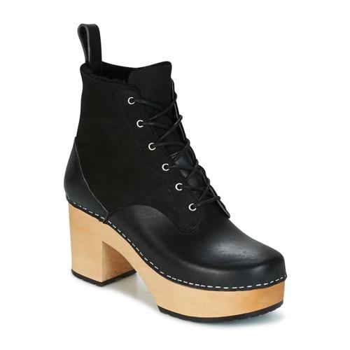 Los últimos zapatos de descuento para hombres y mujeres Zapatos especiales Swedish hasbeens HIPPIE LACE UP Negro