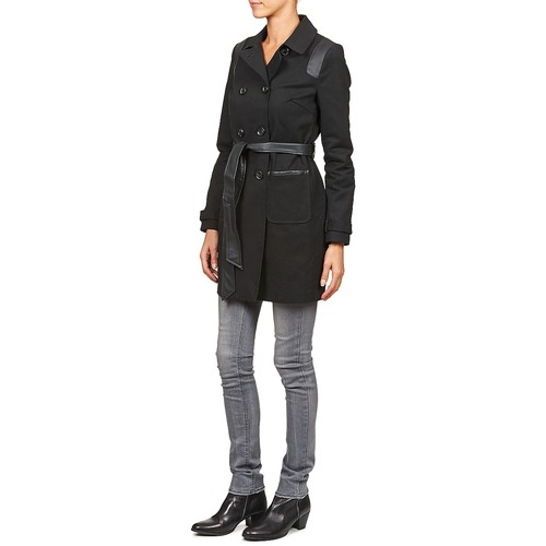 Bartaba Trench Naf Mujer Negro Textil 80OXPwkn