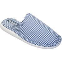 Zapatos Mujer Pantuflas Andinas Chancla toalla de puntera cerrada motivo vichy azul