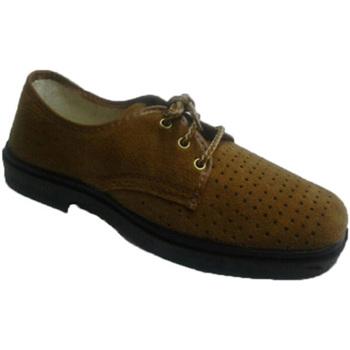 Zapatos Hombre Derbie Vulsega Zapato trabajo cordones serraje calado marrón