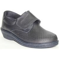 Zapatos Mujer Mocasín Farma Zueco trabajo piel velcro azul