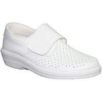 Zapatos Mujer Mocasín Farma Zueco trabajo piel velcro blanco