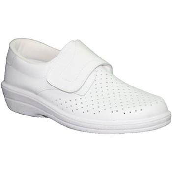 Zapatos Hombre Mocasín Farma Zueco trabajo piel velcro caballero blanco