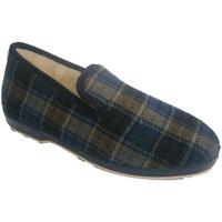 Zapatos Hombre Pantuflas Calzacomodo Zapatilla paño cuadros azules azul