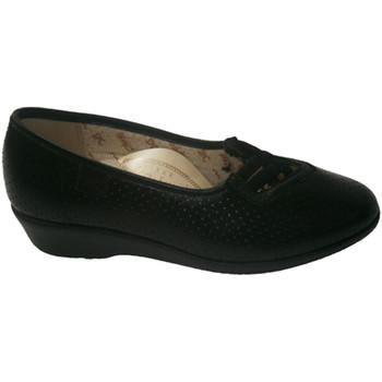 Zapatos Mujer Mocasín Doctor Cutillas Zapato calado con gomas cruzadas negro