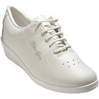 Zapatos Mujer Zapatillas bajas Made In Spain 1940 Deportivo señora cordones con cuña piel blanco