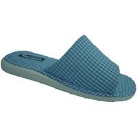 Zapatos Mujer Pantuflas Andinas Chancla toalla de puntera abierta motivo vichy azul