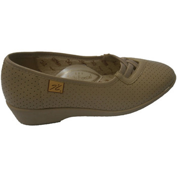 Zapatos Mujer Mocasín Doctor Cutillas Zapato calado con gomas cruzadas beige