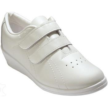 Zapatos Mujer Zapatillas bajas Made In Spain 1940 Deportivo señora velcro con cuña piel blanco