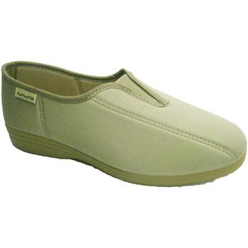 Zapatos Mujer Slip on Muro Zapatilla licra con goma en el empeine beige
