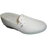 Zapatos Mujer Slip on Made In Spain 1940 Zapatilla tela de rejilla con cuña media blanco