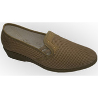 Zapatos Mujer Mocasín Calzacomodo Zapatilla tela de rejilla con cuña media beige