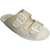 Zapatos Mujer Zuecos (Mules) Made In Spain 1940 Chancla rejilla con doble hebilla beige