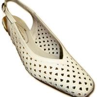 Zapatos Mujer Zapatos de tacón Pomares Vazquez Zapatos calado abiertos atrás punta cerr blanco