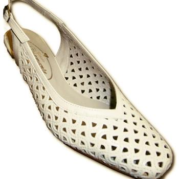 Zapatos Mujer Zapatos de tacón Pomares Vazquez Zapatos calado abiertos atrás punta cerrada muy anchos blanco