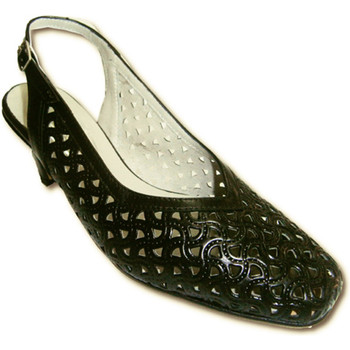 Zapatos Mujer Sandalias Pomares Vazquez Zapatos abiertos atrás calados negros anchos negro