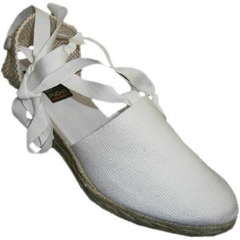 Zapatos Mujer Alpargatas Andinas Zapatillas valencianas atadas a la pierna cuña media blanco