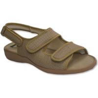 Zapatos Mujer Sandalias Calzamur Zapatillas abierta punta y talón con broche de dos tiras de velc beige