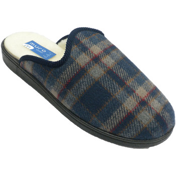 Zapatos Hombre Pantuflas Muro Chanclas paño cuadros suela de goma con azul