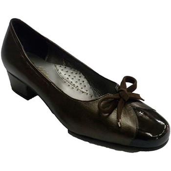 Zapatos Mujer Mocasín Roldán Zapato tipo manoletinas combinado piel y charol marrón