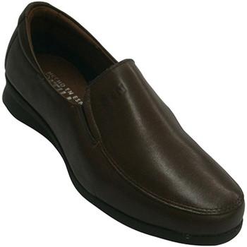 Zapatos Mujer Mocasín Pitillos Zapatos piel con gomas a los lados muy cómodo piso de goma marrón