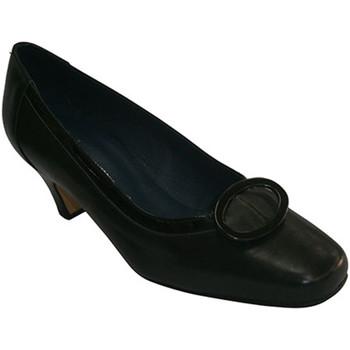Zapatos Mujer Bailarinas-manoletinas Pomares Vazquez Zapato tacón medio con adorno cuadrado negro
