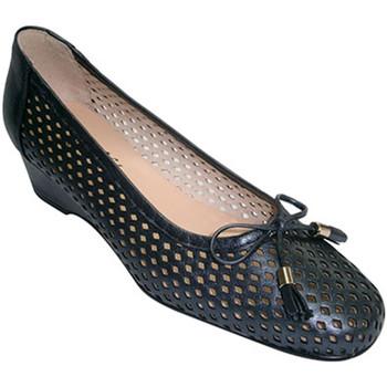 Zapatos Mujer Zapatos de tacón Roldán Zapato mujer tipo manoletinas calada con cuña y adorno lazo azul