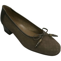 Zapatos Mujer Zapatos de tacón Roldán Zapato mujer tipo manoletinas con calados pequeños haciendo romb beige