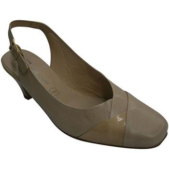 Zapatos Mujer Zapatos de tacón Pomares Vazquez Zapato vestir mujer abierto atrás combinado con una tira de char beige