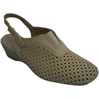 Zapatos Mujer Zapatos de tacón Pomares Vazquez Zapato calado mujer abierto atrás beige