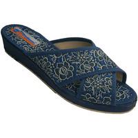 Zapatos Mujer Zuecos (Mules) Calzacomodo Chanclas mujer tiras crzadas con flores azul