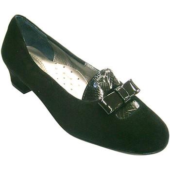Zapatos Mujer Mocasín Roldán Zapato mujer de ante combinado con solapa y lazo de charol negro