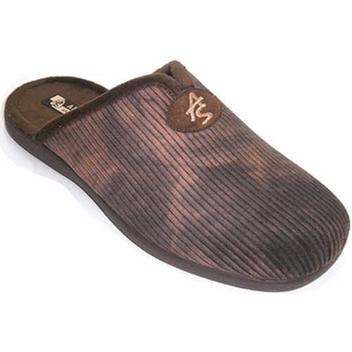 Zapatos Hombre Pantuflas Andinas Chanclas hombre de pana con abertura en marrón
