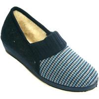 Zapatos Mujer Pantuflas Calzacomodo Zapatilla mujer pata de gallo con forro azul